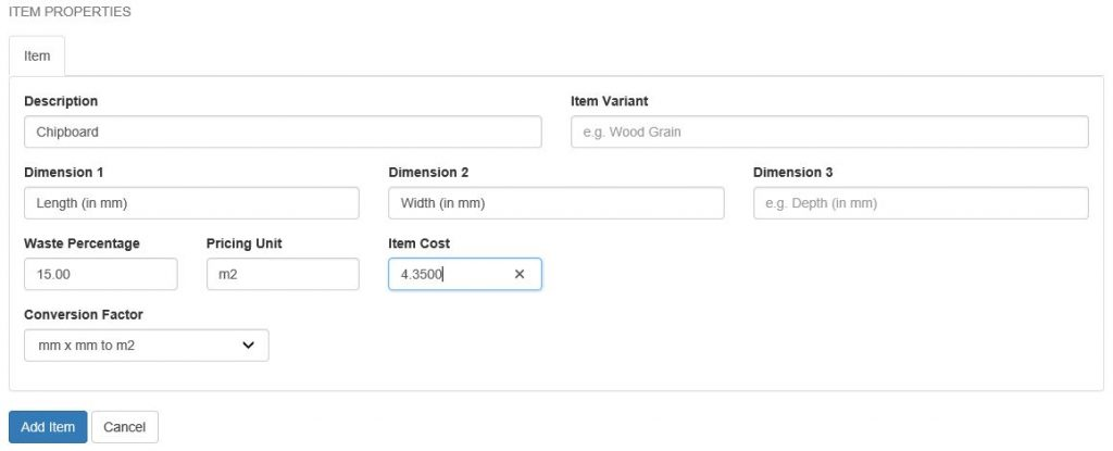 add item form