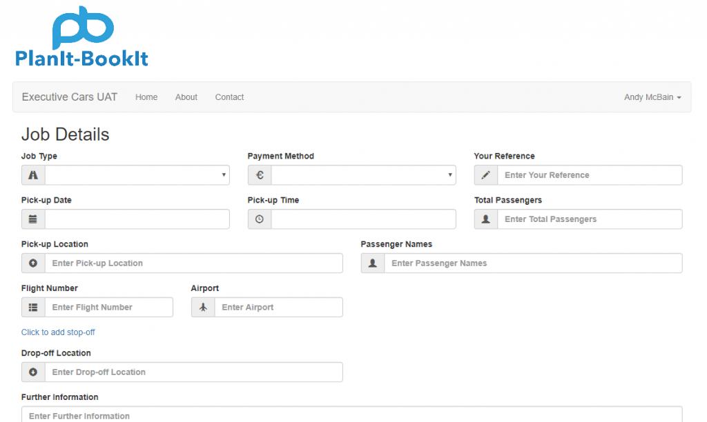 executive car customer job request screen